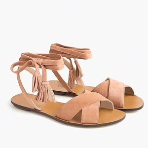 J Crew Lace-Up Suede Sandals